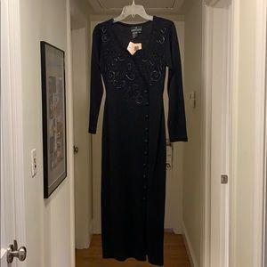 Carole Little black knit fitted dress